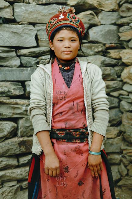 Langtang, Nepal - November 5, 2011: Portrait of a Tamang young woman