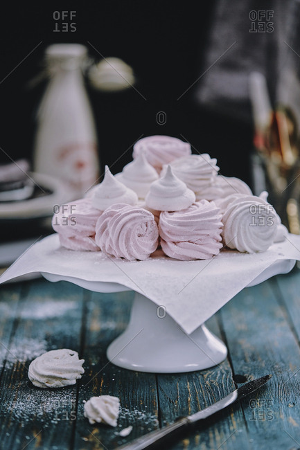 Stack of sweet meringue kisses