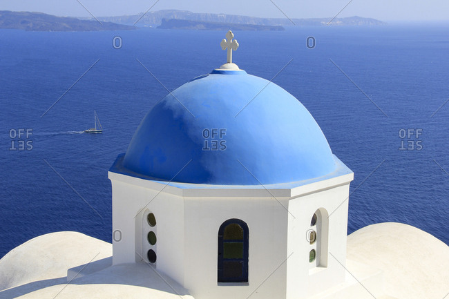 Santorini, Greece - August 3, 2014: High angle view of church against sea at Santorini