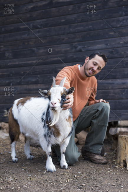 Full length of man petting goat while crouching on field
