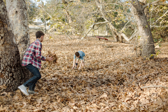 Brothers playing with leaves on field at park during autumn