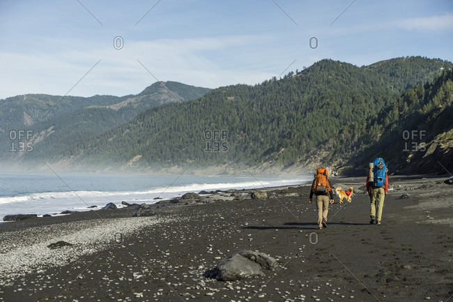 Rear view of hikers with backpacks and dog walking at beach against mountains and sky