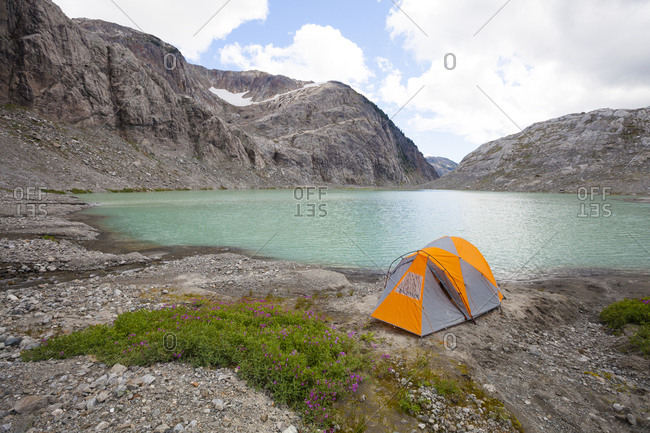 High angle view of tent on lakeshore against sky
