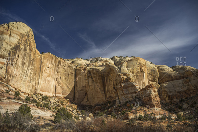 Low angle scenic view of rock formations against sky