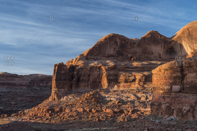 Scenic view of rock formations at Arches National Park against sky