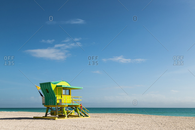 Miami, Florida - January 15, 2018: Miami life guard station designed by architect William Lane