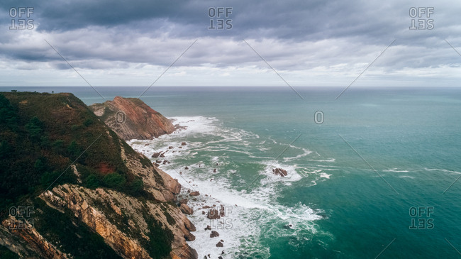 Aerial view of the rocky shore in Asturias, Spain