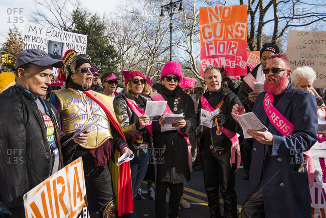 New York City, New York, USA - January 20, 2018: Group of people singing together at Women's March