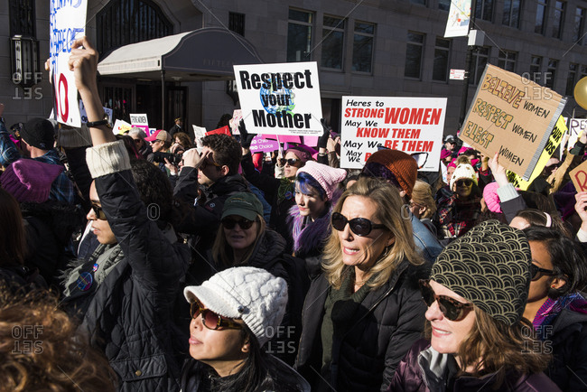 New York City, New York, USA - January 20, 2018: Crowd of protesters holding signs at Women's March