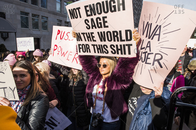 New York City, New York, USA - January 20, 2018: Protestors demonstrating with signs at Women's March