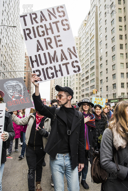 New York City, New York, USA - January 20, 2018: Person carrying sign among crowd at Women's March