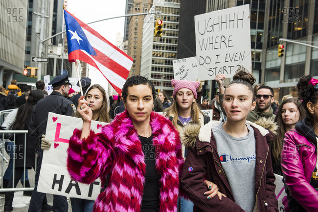 New York City, New York, USA - January 20, 2018: Person holding flag of Puerto Rico at Women's March