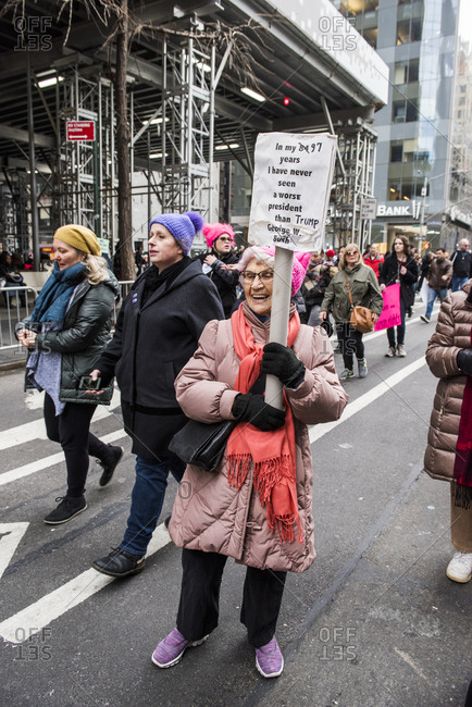 New York City, New York, USA - January 20, 2018: Senior woman holding sign at Women's March