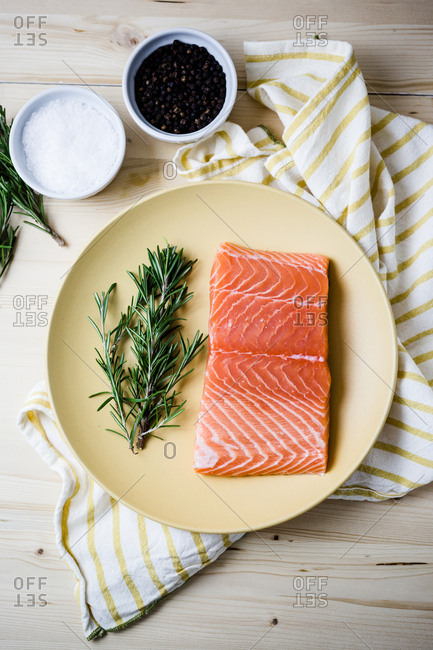 Raw salmon dinner table spread