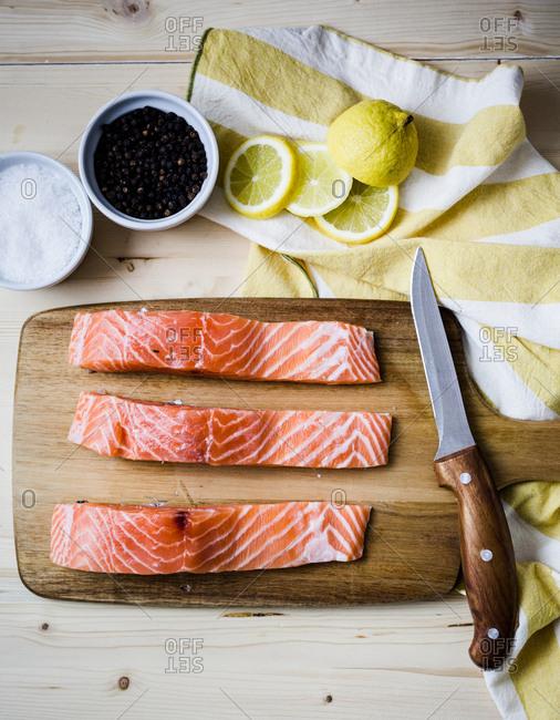 Raw salmon strips recipe prep