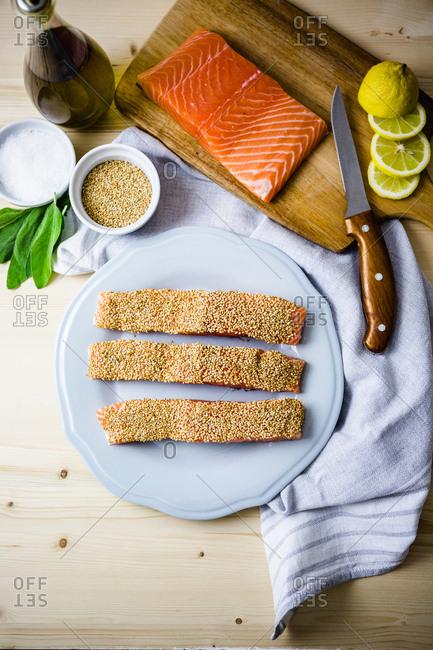 Sesame salmon recipe process