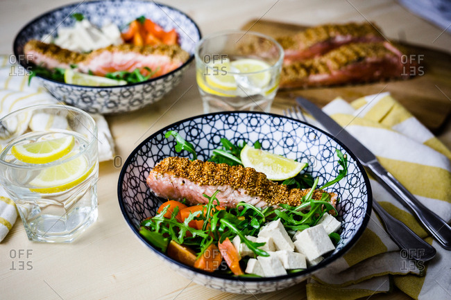 Salmon salad lunch setting for two