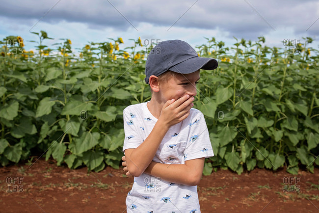 Boy laughing by a field with sunflowers