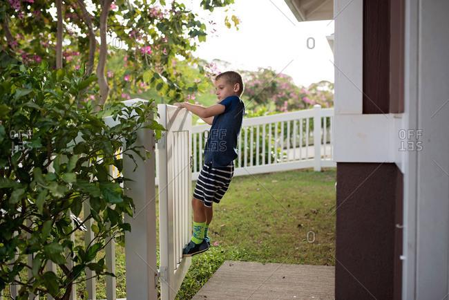 Blonde boy swinging on white gate