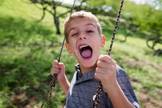 Portrait of boy swinging on a rope swing