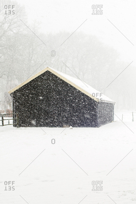 Small barn in snowy countryside during snowfall