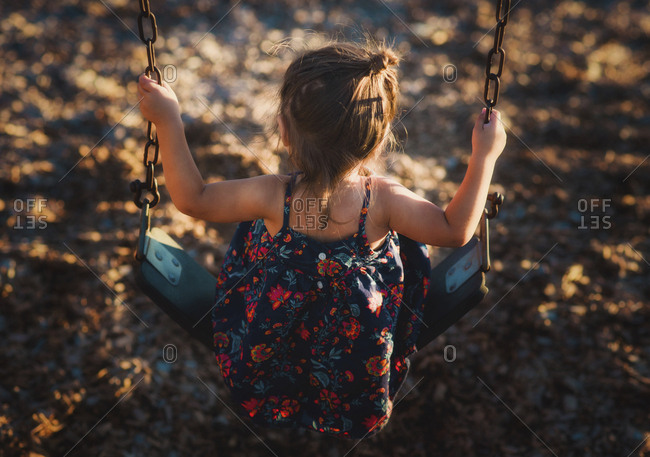 Rear view of a toddler girl on swing