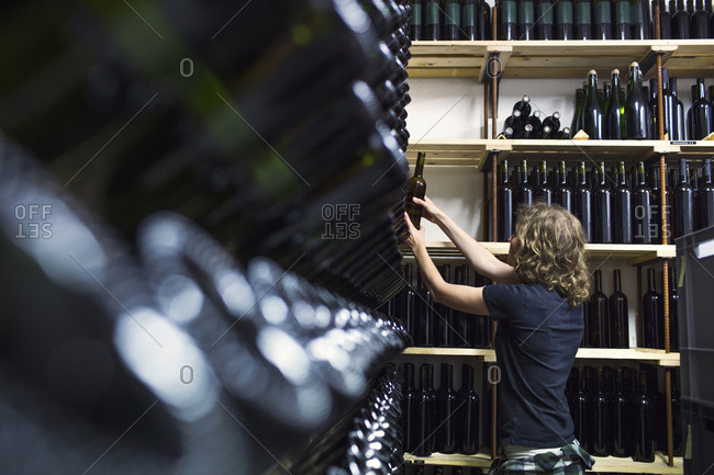 Woman working in winery