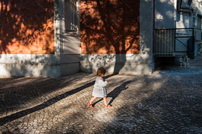 Toddler walking around neighborhood alone