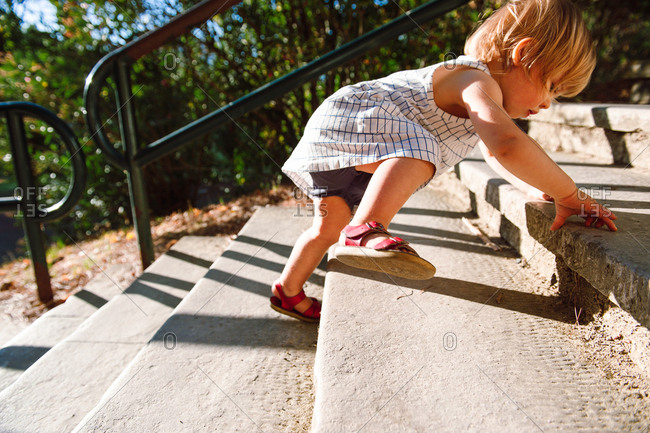 Determined toddler climbing high