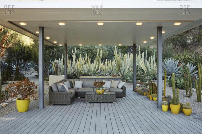 La Crescenta, California - October 24, 2015: Outdoor patio  sitting area designed by modernist Richard Neutra
