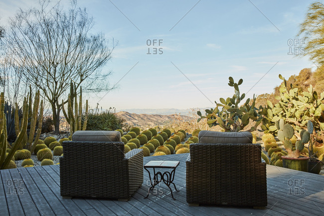 La Crescenta, California - October 24, 2015: Cactus garden sitting area designed by architect Richard Neutra