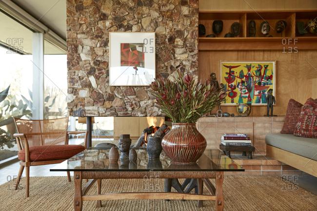 La Crescenta, California - October 24, 2015: Glass-walled mid-century living room designed by Richard Neutra