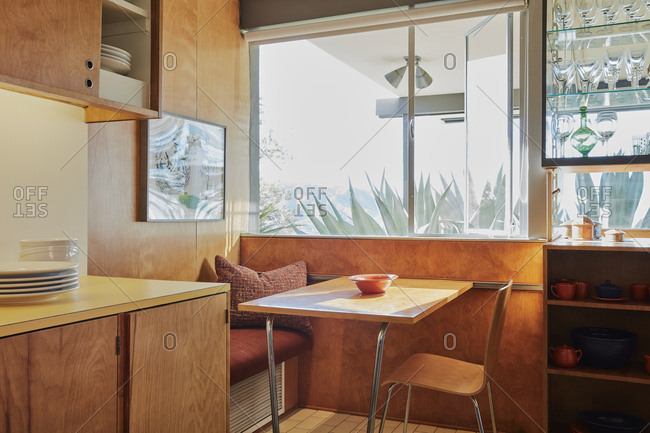 La Crescenta, California - October 24, 2015: Modernist kitchen nook designed by Richard Neutra