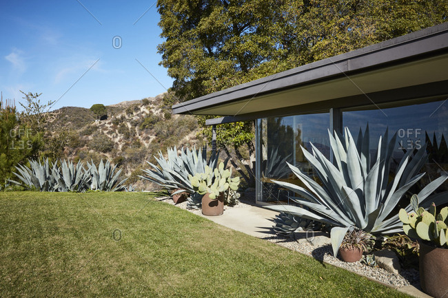 La Crescenta, California - October 24, 2015: Side yard terrace exterior designed by Richard Neutra