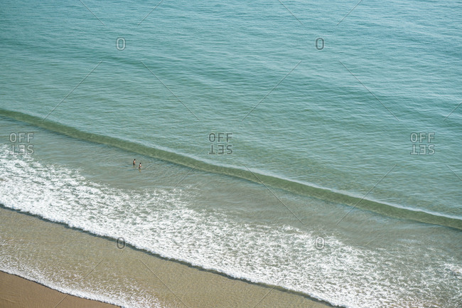High angle scenic view of waves in sea