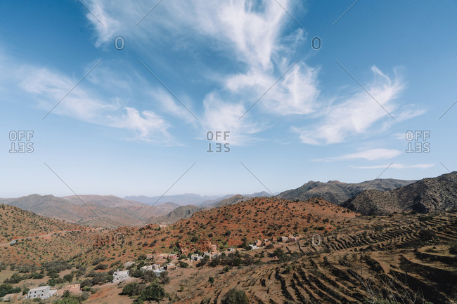 High angle scenic view of mountains against sky