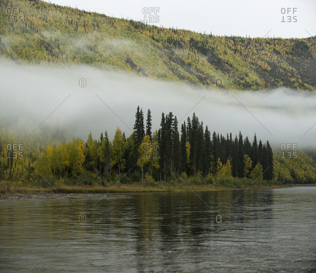 Scenic view of river at Yukon Charley Rivers National Preserve during foggy weather