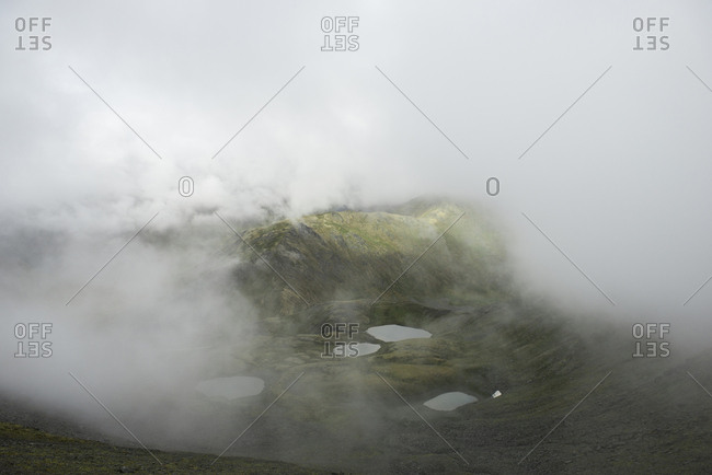 High angle view of landscape during foggy weather