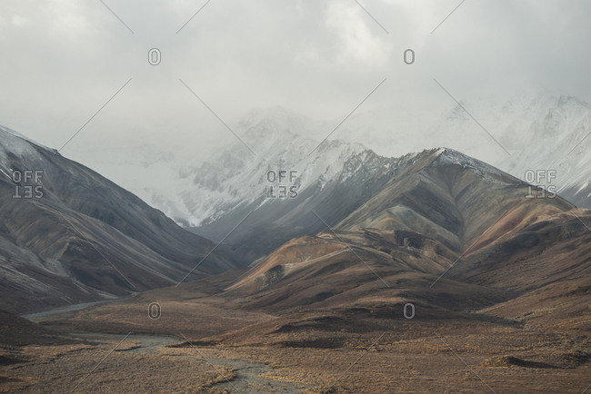 Scenic view of mountains at Denali National Park and Preserve during foggy weather