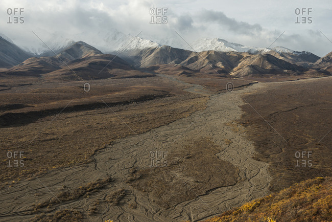 Scenic view of landscape at Denali National Park and Preserve against sky during sunny day