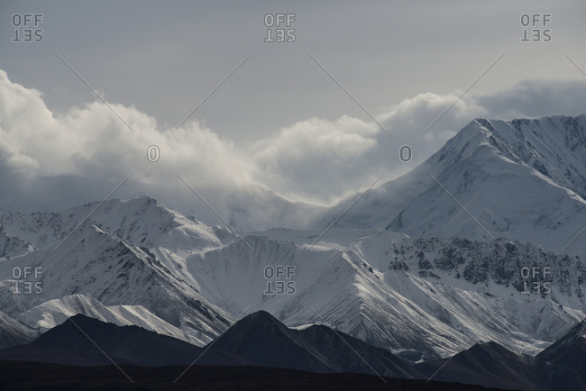 Scenic view of snowcapped mountains at Denali National Park and Preserve