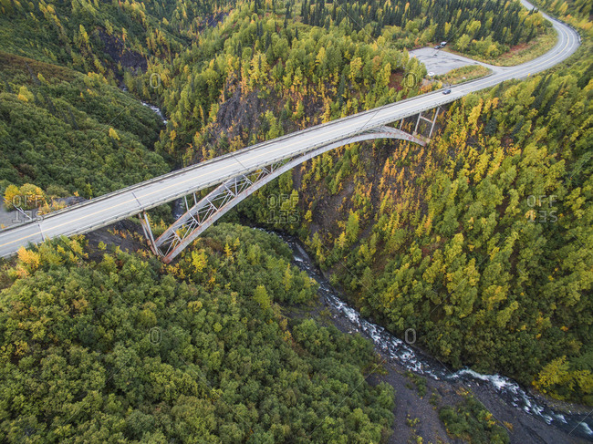 High angle view of bridge in forest