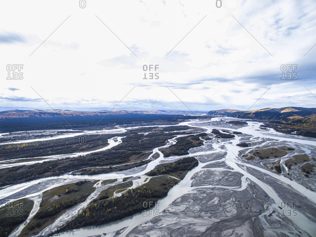 Scenic view of streams at Denali National Park and Preserve against sky