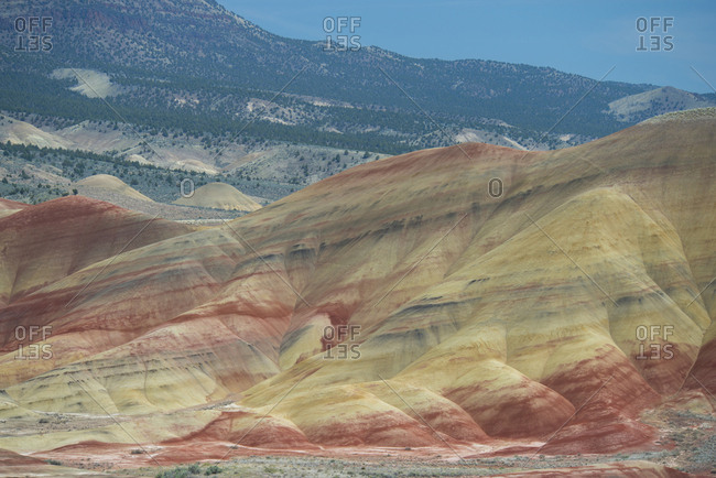 High angle majestic view of hills at John Day Fossil Beds National Park