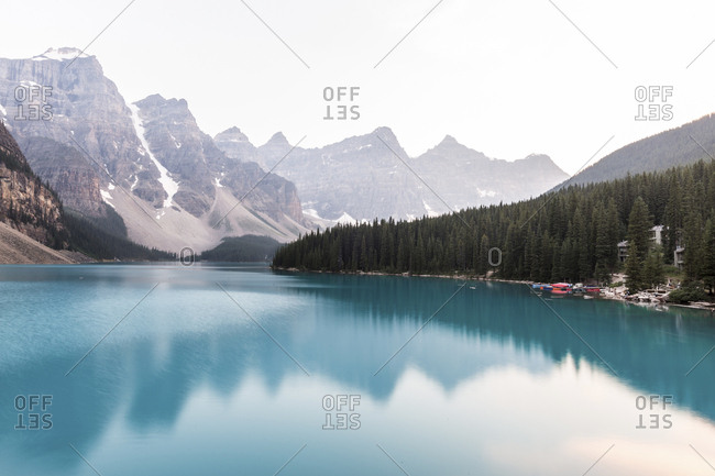 Scenic view of lake against mountain range at Banff National Park