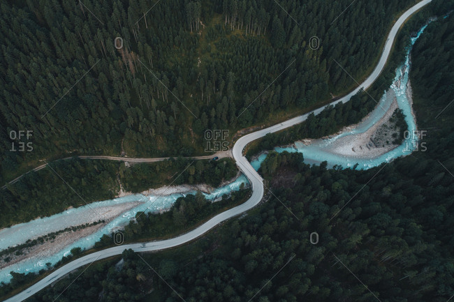 High angle view of bridge over river by trees in forest