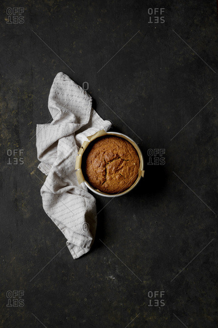 Persimmons Cake on a black background