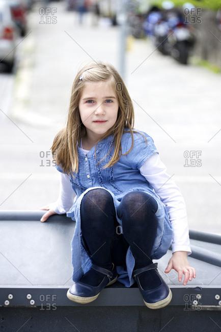 Little girl with blond hair, portrait, Munich, Bavaria, Germany