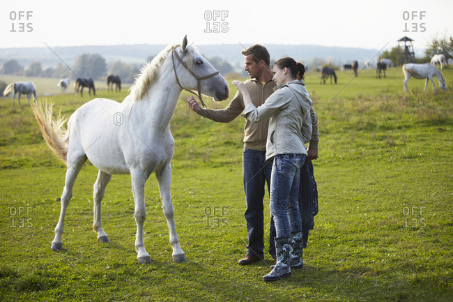 Young Couple On Pasture, Stroking Horse, Croatia, Europe