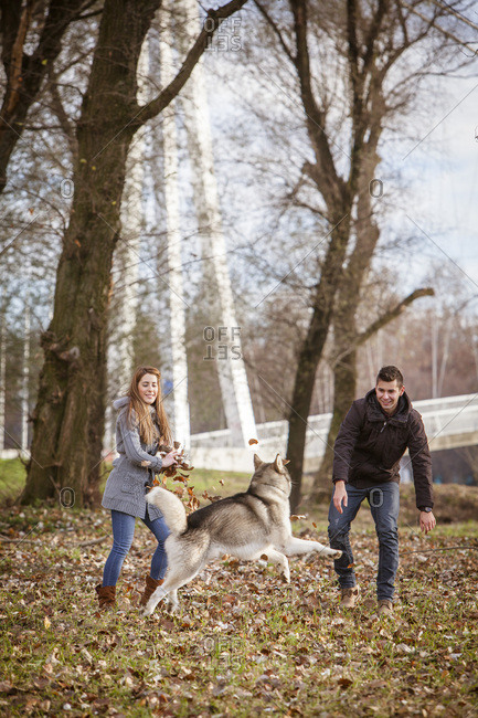 Couple Playing with Dog Outdoors, Croatia